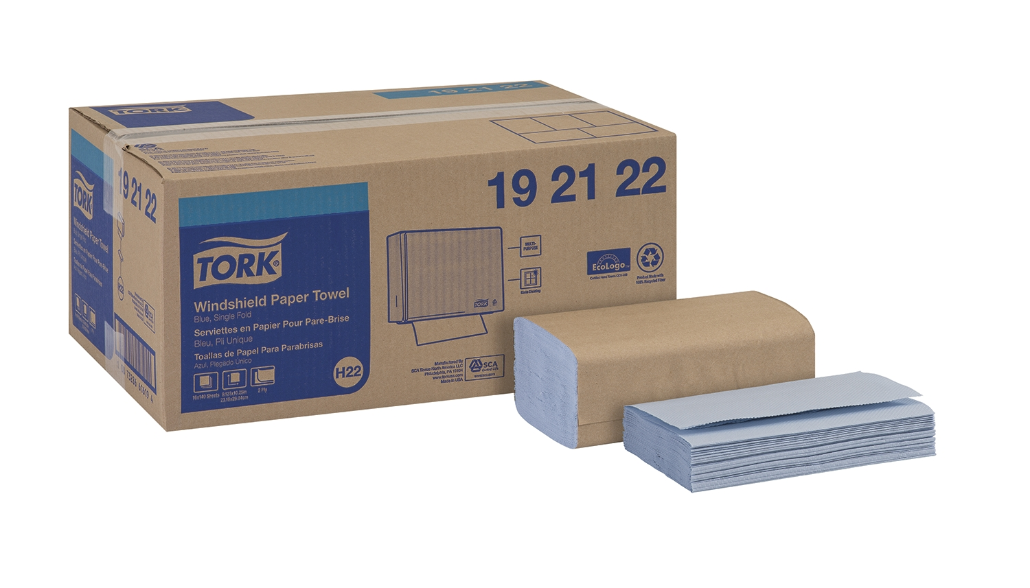10073286616194 192122 - Tork Universal Windshield Towel 320, Singlefold, 2-Ply, Blue