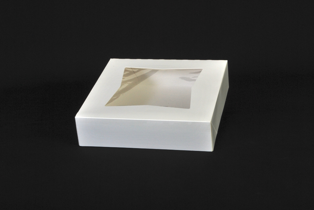BAKERY BOX 10X10X2.5 WHITE AUTO WINDOW